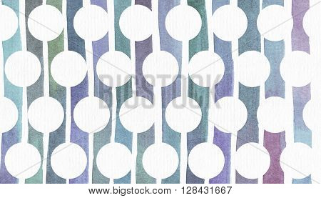Blue and purple illustration cool and branding freehand texture based on watercolor gradient stripes used as background for circles pattern. Large grainy bright template with imperfections.