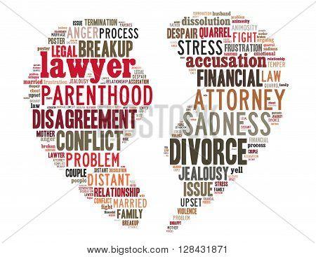 Divorce Broken Heart, Word Cloud Concept 3
