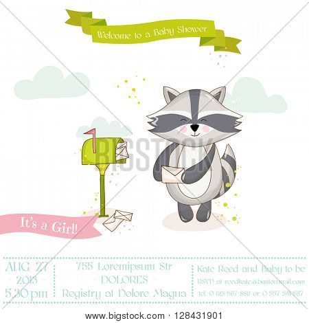 Baby Shower or Arrival Card - Baby Rac?oon Girl- in vector