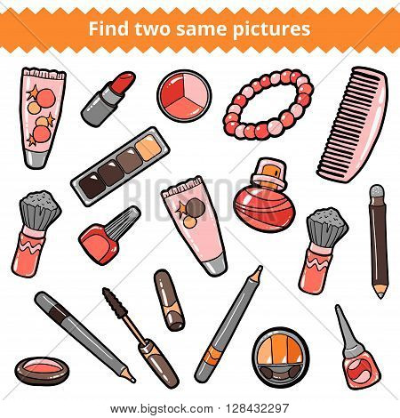 Find Two Same Pictures. Beauty Vector Color Set