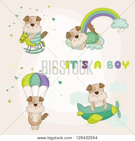 Baby Dog Set - Baby Shower or Arrival Card - in vector