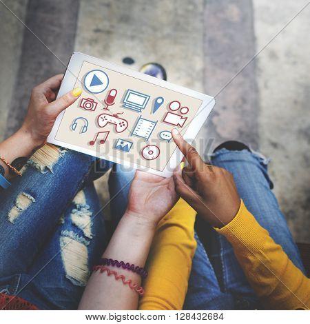 Telecommunication Technology Social Connect Concept