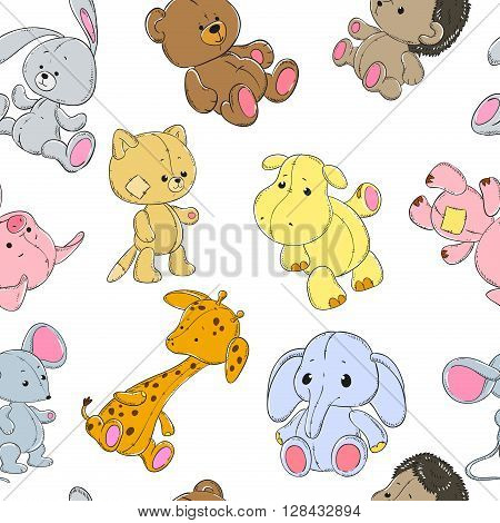 Seamless pattern with cute animals on a white background. Elephant giraffe hippopotamus bear pig cat mouse rabbit hedgehog. Vector.
