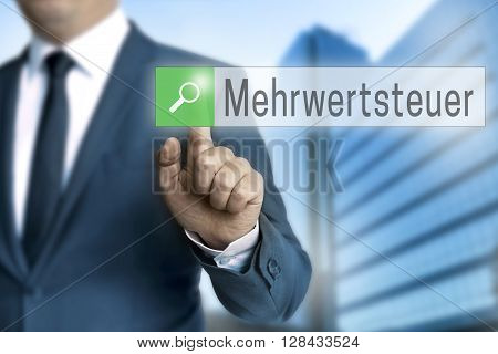 Mehrwertsteuer (in German Vat) Browser Is Operated By Businessman.