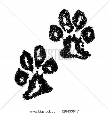 Vector paw print. Animal paw. Dog paw print