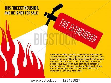 Fire safety poster. eliminate fire extinguisher. Vector illustration