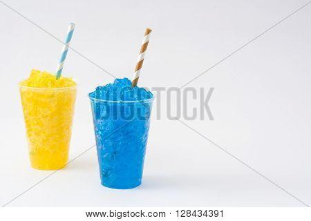 Fresh colorful summer slushies isolated on white background