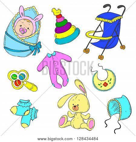 Set for newborn boy. Baby, stroller, rattle, cap, socks, toddlers, toy, pyramid