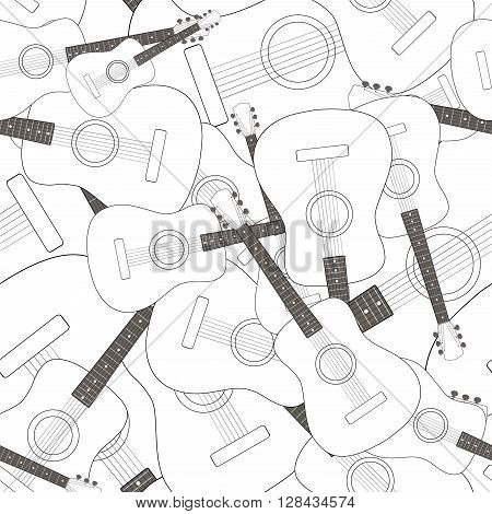 Seamless pattern with acoustic guitars, vector illustration