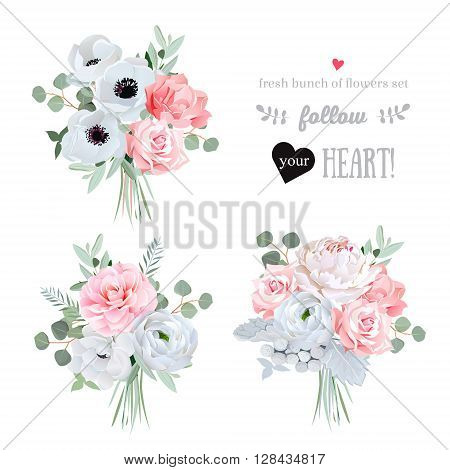 Surprise bouquets of rose peony anemone camellia brunia flowers and eucalyptus leaves. Vector design elements.