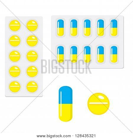 Packing yellow blue and yellow capsule pills isolated on white background. Capsules and tablets of drugs in flat style. Vector illustration.