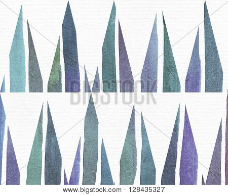 Blue and purple illustration cool and branding freehand texture based on watercolor gradient stripes and long triangles pattern. Large grainy bright template with imperfections on white watercolor paper.