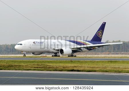 Boeing 777-300 Taxiing At Domodedovo Arport.