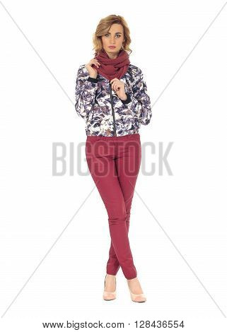 Full-length portrait young woman in jacket isolated
