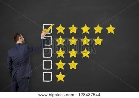 Customer Satisfaction on Blackboard Working Conceptual Business Concept