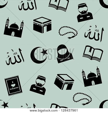 Seamless green background with the symbols of Islam