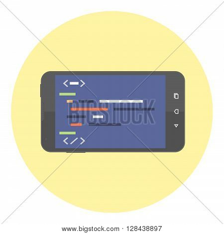 Mobile Phone With Coding Symbols On The Screen