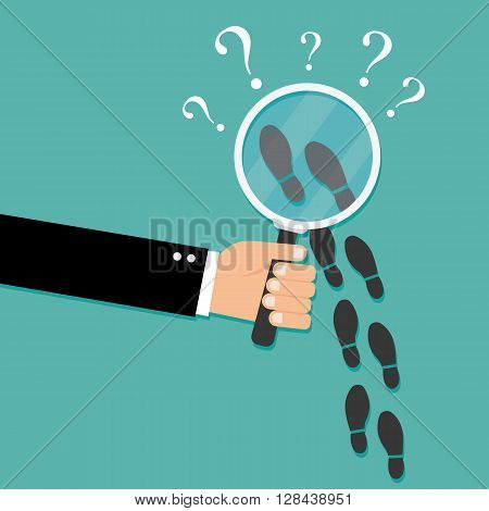 Footsteps flat icon. Detective inspecting vector illustration isolated on background