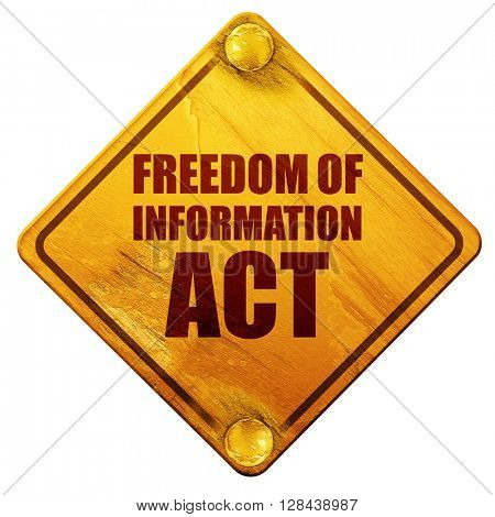 freedom of information act, 3D rendering, isolated grunge yellow