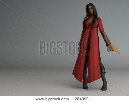 3d illustration of a mulatto wizard woman