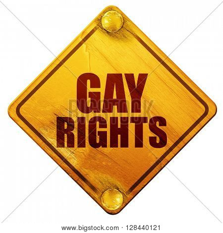 gay rights, 3D rendering, isolated grunge yellow road sign