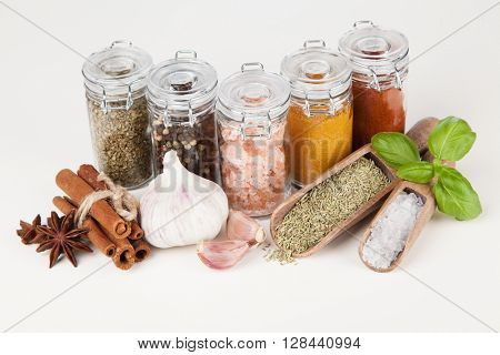 Set of different herbs and spice isolated on white background