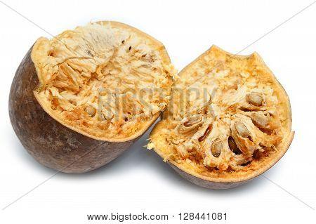ripe bael fruit , isolate on white background