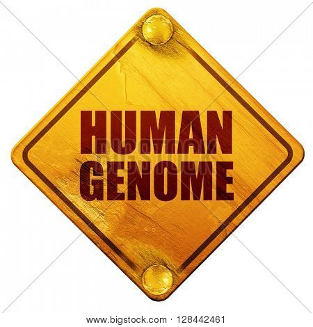 human genome, 3D rendering, isolated grunge yellow road sign