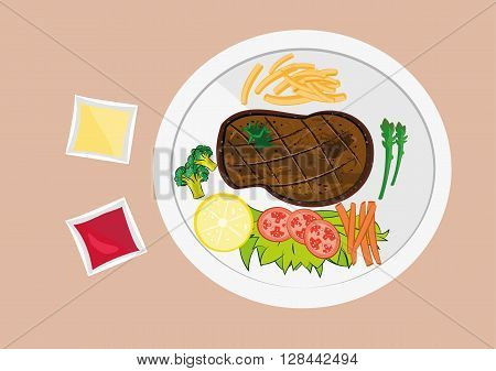 vector illustration of grilled meat steak with french fries ;vagetable and ketchup on white plate top view.eps 10