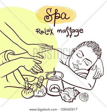 Beautiful vector hand drawn illustration massage. Spa woman gets relax spa massage.
