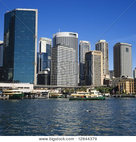Downtown view of Sydney, Australia with boats in harbour.