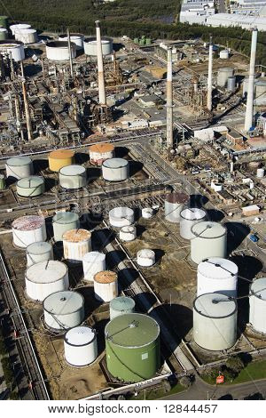 Aerial view of oil refinery in Australia.