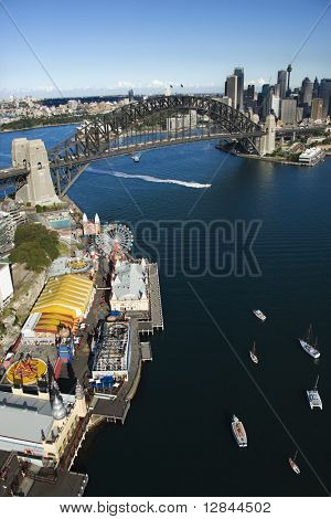 Aerial view of Luna Park Sydney, Australia with boats in Sydney harbour and view of Sydney Harbour Bridge.