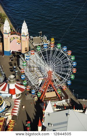 Aerial view of ferris wheel in Luna Park Sydney, Australia.