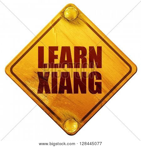 learn xiang, 3D rendering, isolated grunge yellow road sign