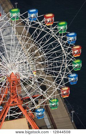 Aerial view of ferris wheel in Luna Park Sydney, Australia.