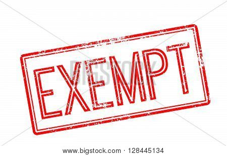 Exempt Red Rubber Stamp On White