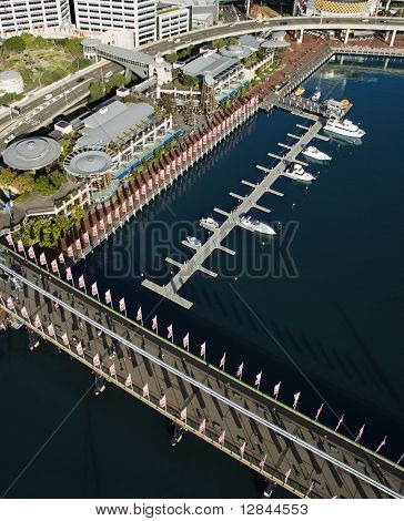 Aerial view of Pyrmont Bridge and boats in Darling Harbour, Sydney, Australia.