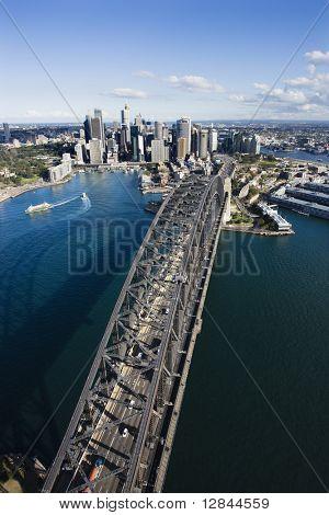 Aerial view of Sydney Harbour Bridge and skyline in Sydney, Australia.