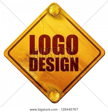 logo design, 3D rendering, isolated grunge yellow road sign