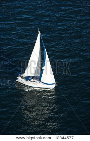 Aerial view of sailboat at sea in Sydney, Australia.