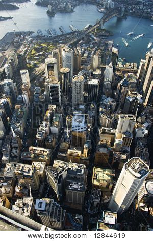 Aerial view of downtown Sydney, Australia.