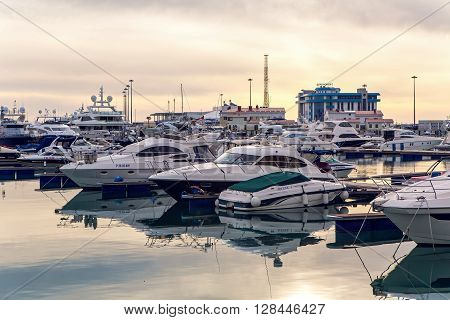 Sochi, Russia - April 23: yachts in the Bay at the seaport in Sochi city center on April 23, 2016