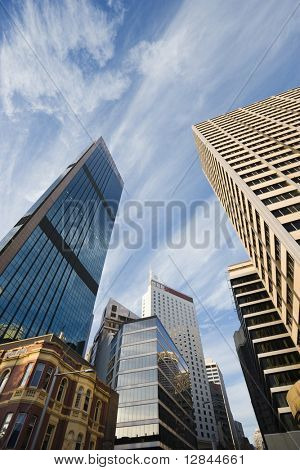 Low angle view of skyscrapers and buildings in downtown Sydney, Australia.