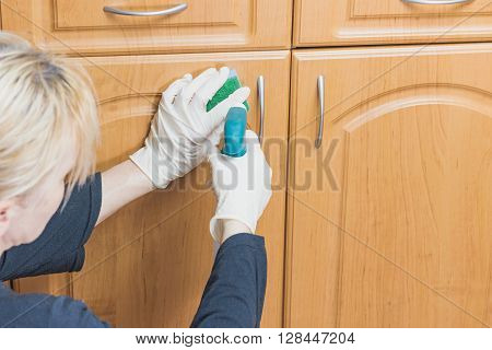 Woman is cleaning the furniture with a sponge and detergent which she is hilding in her hands. All potential trademarks are removed.