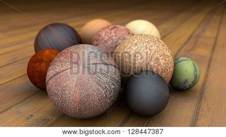 Different fantasy realistic wood balls on a realistic wood floor floor. Depth of field settings. 3D rendering.