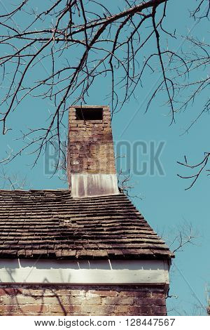 Chimney And Roof On Old House