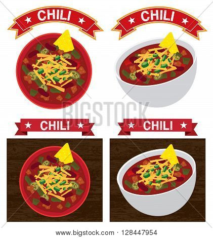 mexican chili con carne bowl illustration vector text is outline version 10