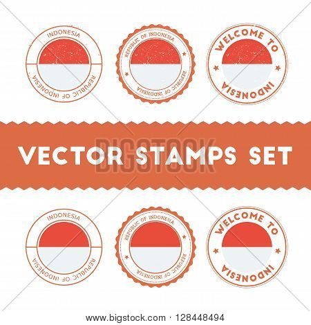 Indonesian Flag Rubber Stamps Set. National Flags Grunge Stamps. Country Round Badges Collection.