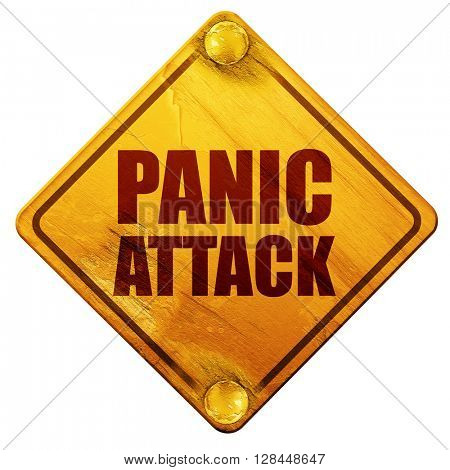 panic attack, 3D rendering, isolated grunge yellow road sign